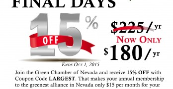 15 percent off coupon for new members to Green Chamber of Nevada
